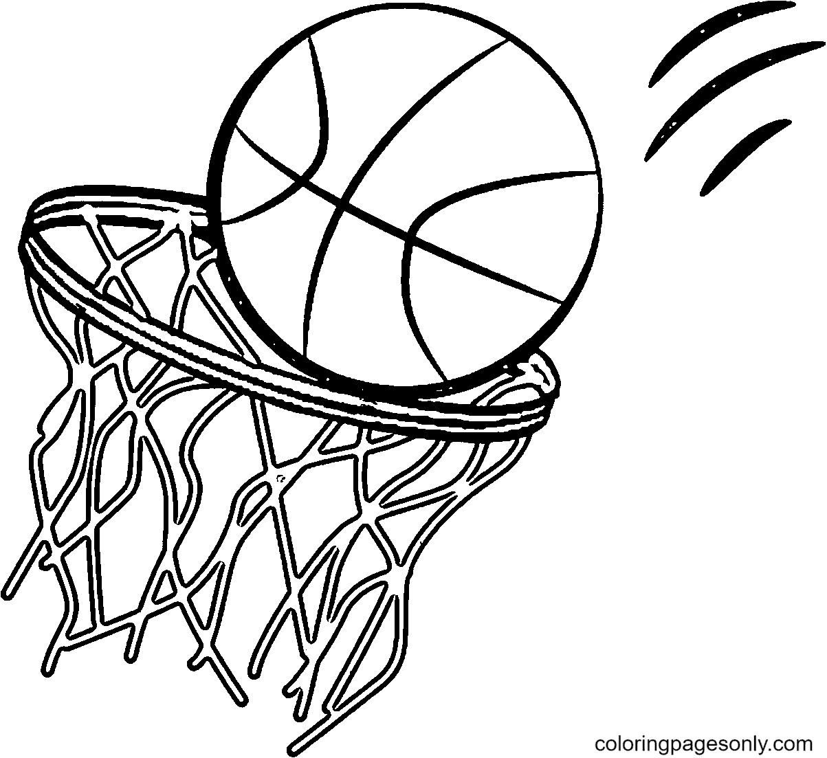 The Ball is Thrown into the Basket Coloring Page