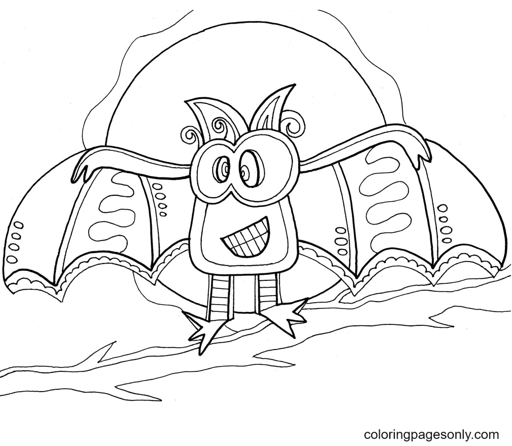 The Bat Halloween Coloring Page