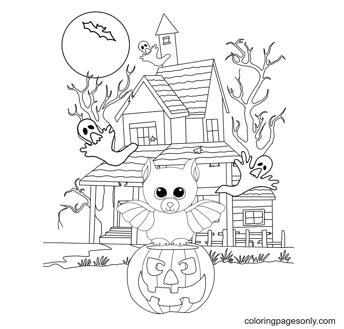 The Bat and the Haunted House Coloring Page
