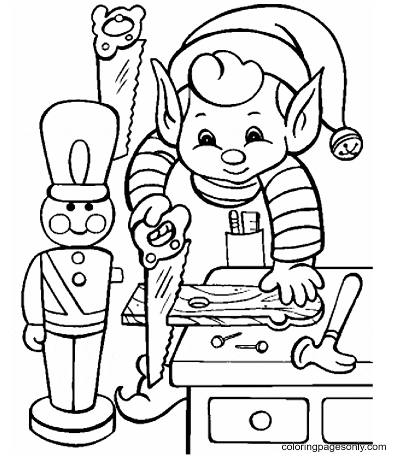 The Busy Elf Coloring Page