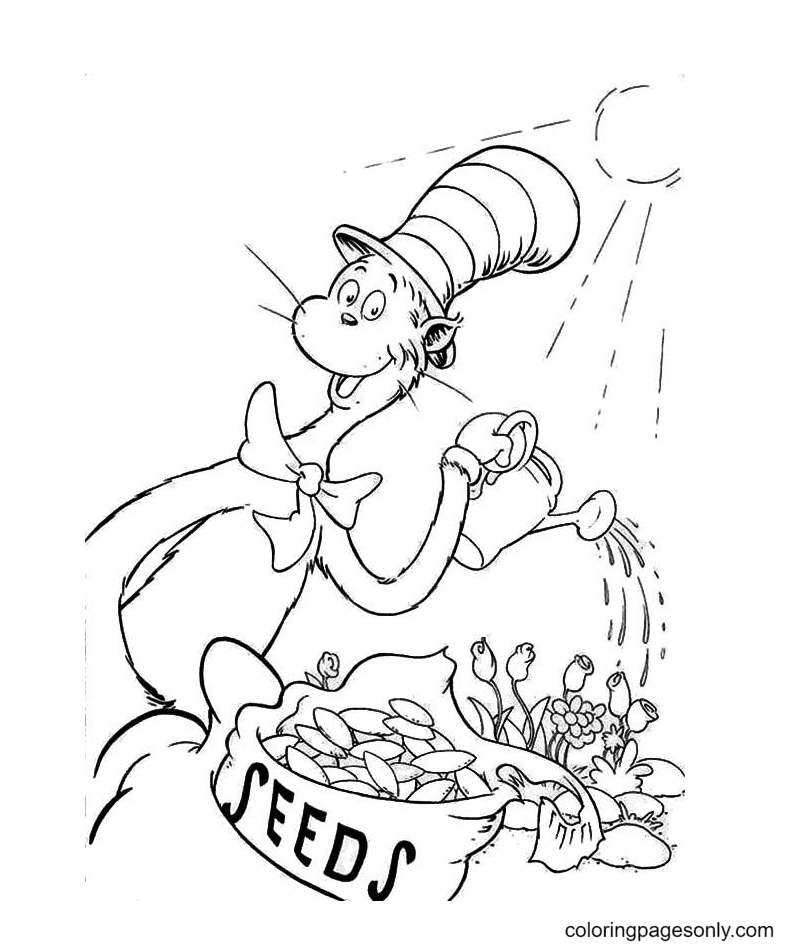 The Cat In The Hat Watering The Plant Coloring Page