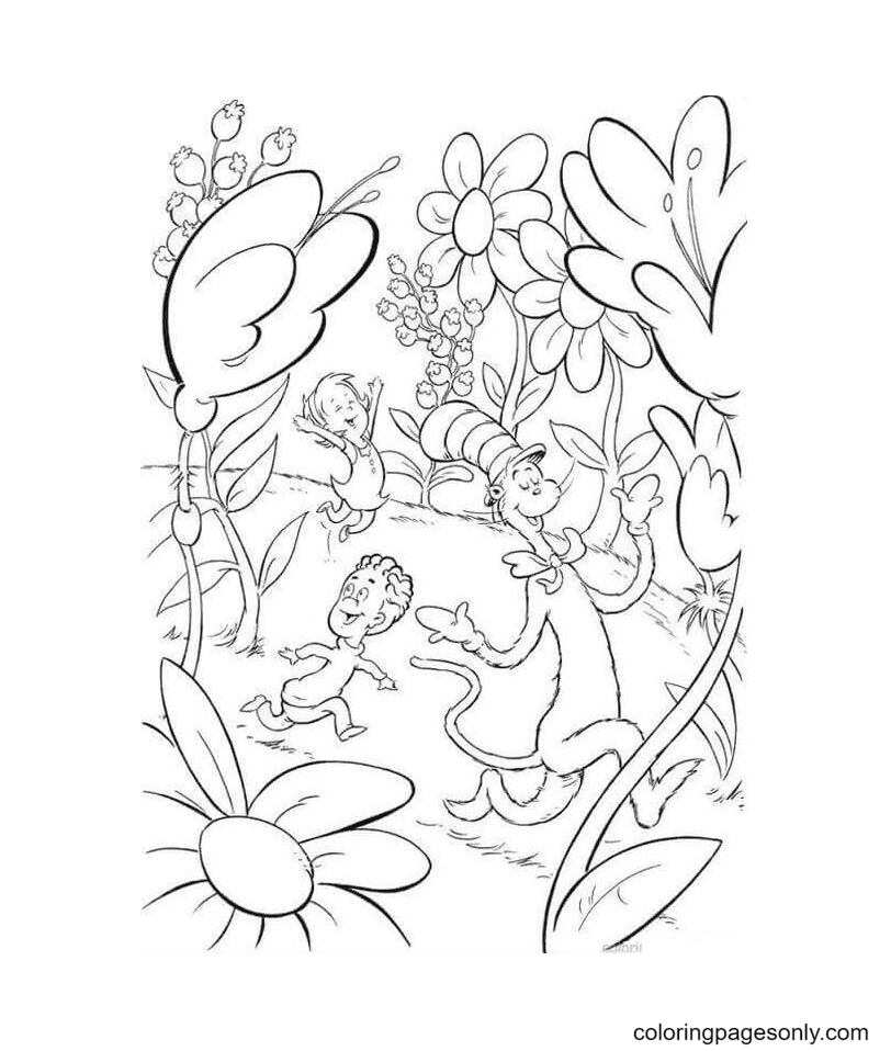 The Cat With Nick And Sally Coloring Page