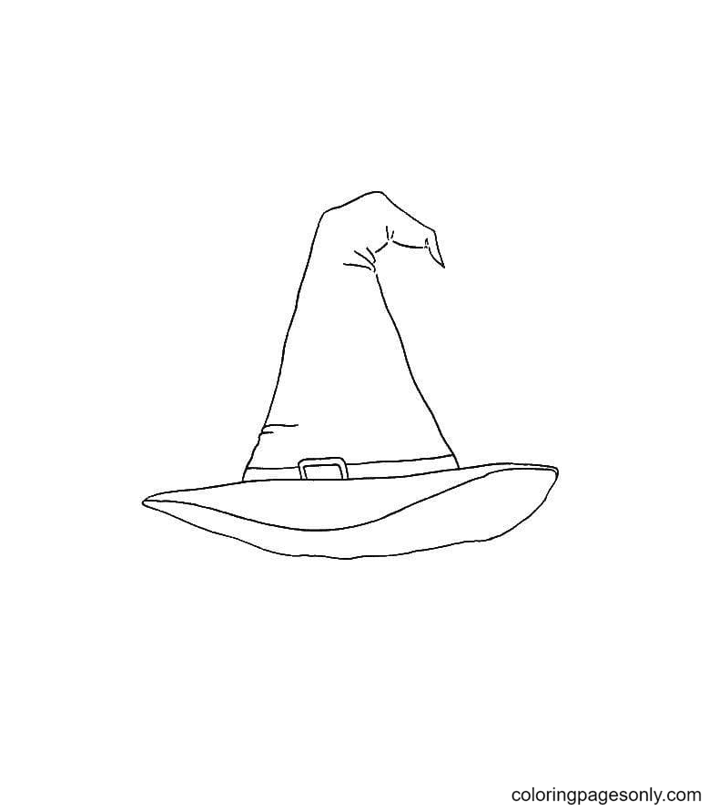 The Crown Of A Witch Hat is Dented Coloring Page