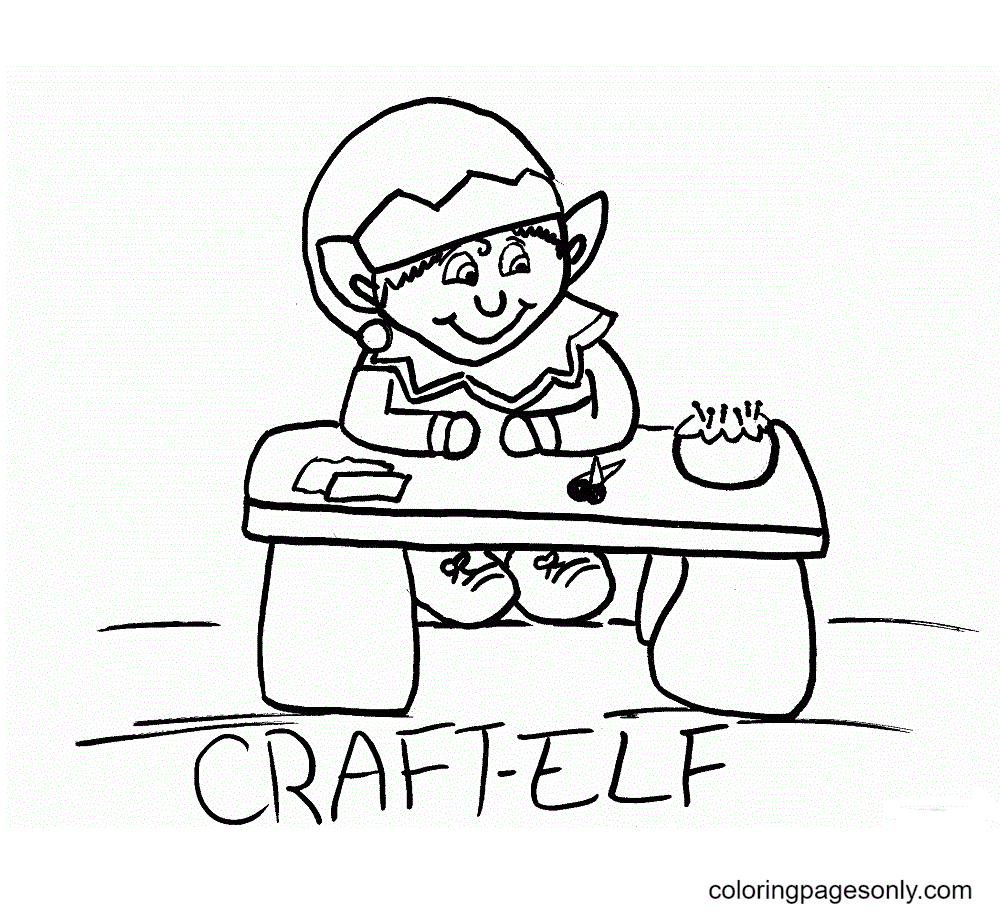 The Elf's Table Coloring Page