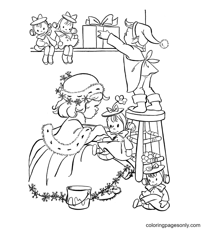 The Elves Arrange Their Toys Neatly Coloring Page