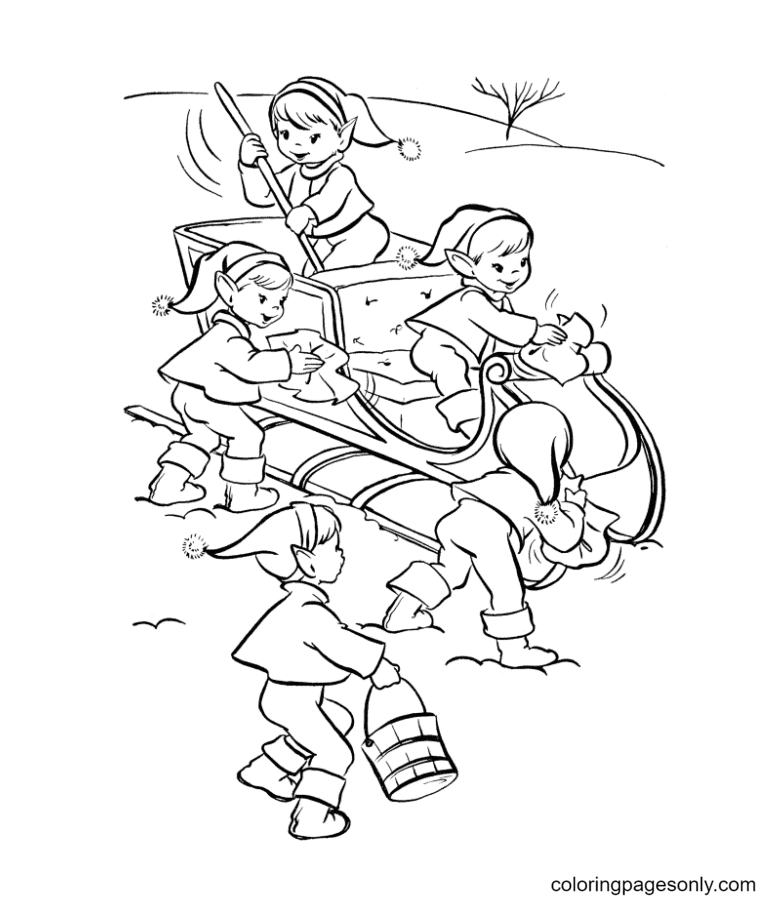 The Elves Clear The Carriage For Santa Claus Coloring Page