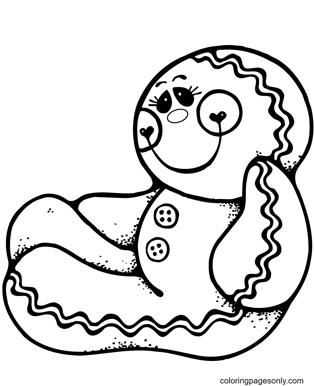 The Gingerbread Man is Sitting Coloring Page