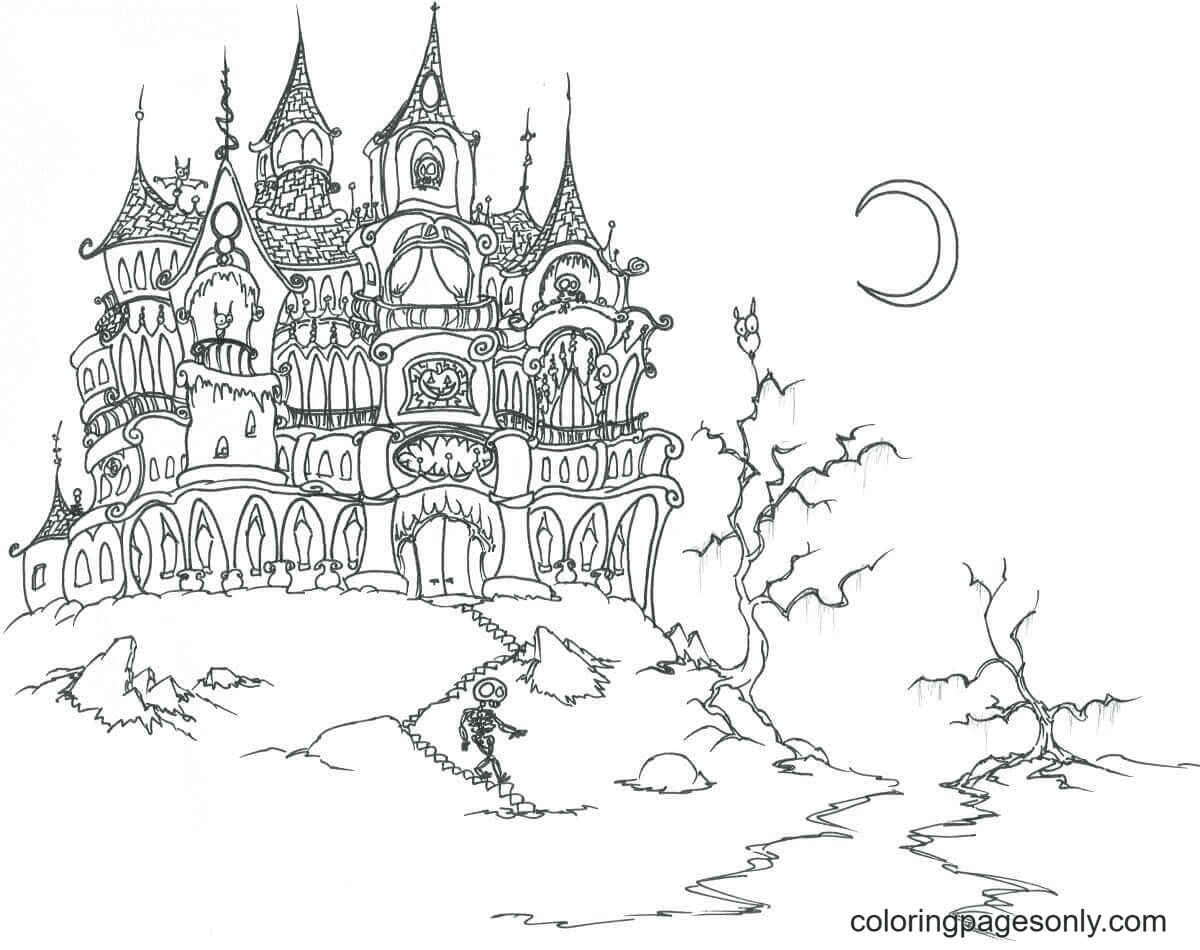 The Haunted Castle Coloring Page