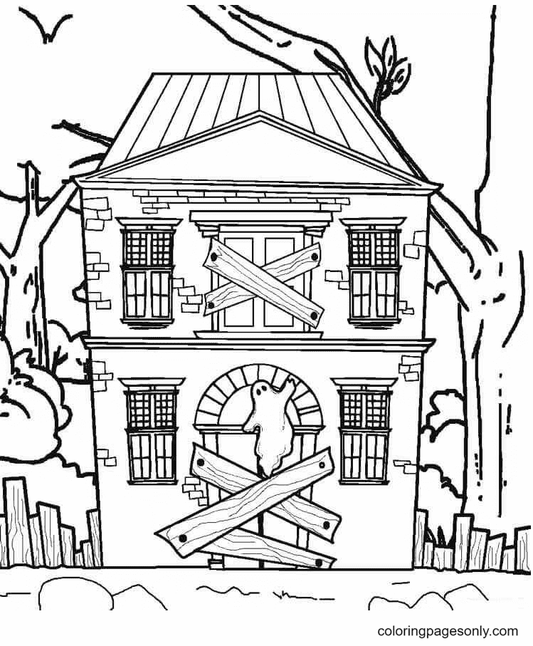 The Haunted House Window is Closed Coloring Page