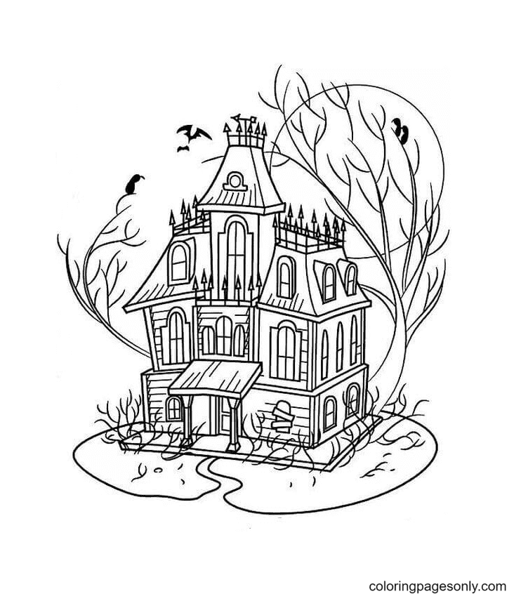 The Haunted House Coloring Page