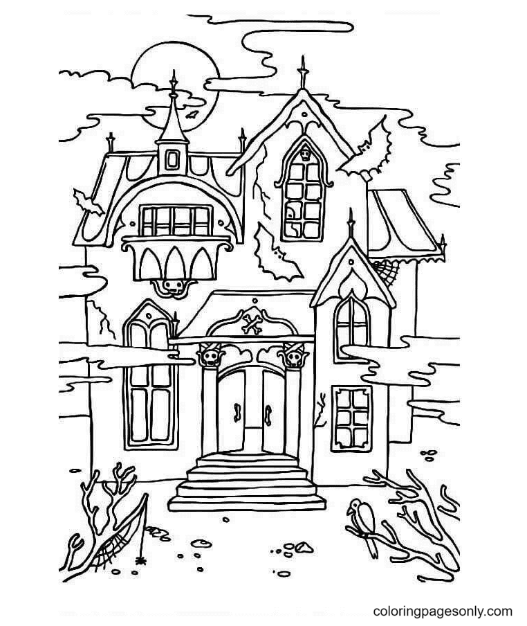 The Haunted Mansion Coloring Page