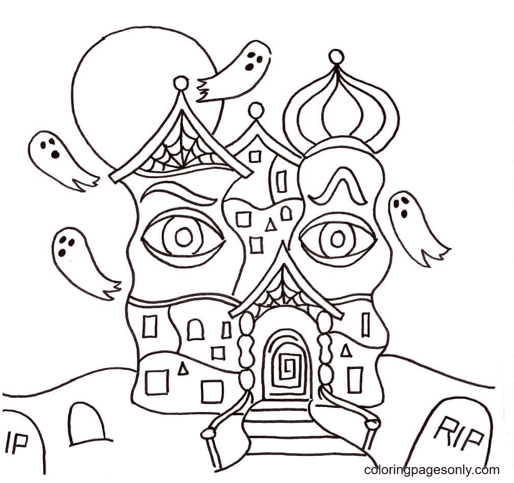 The House Apparition is A Ghost Coloring Page