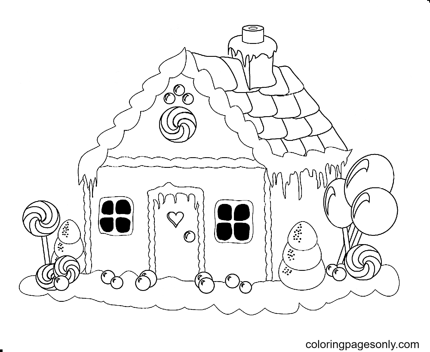 The House and The Candy Coloring Page