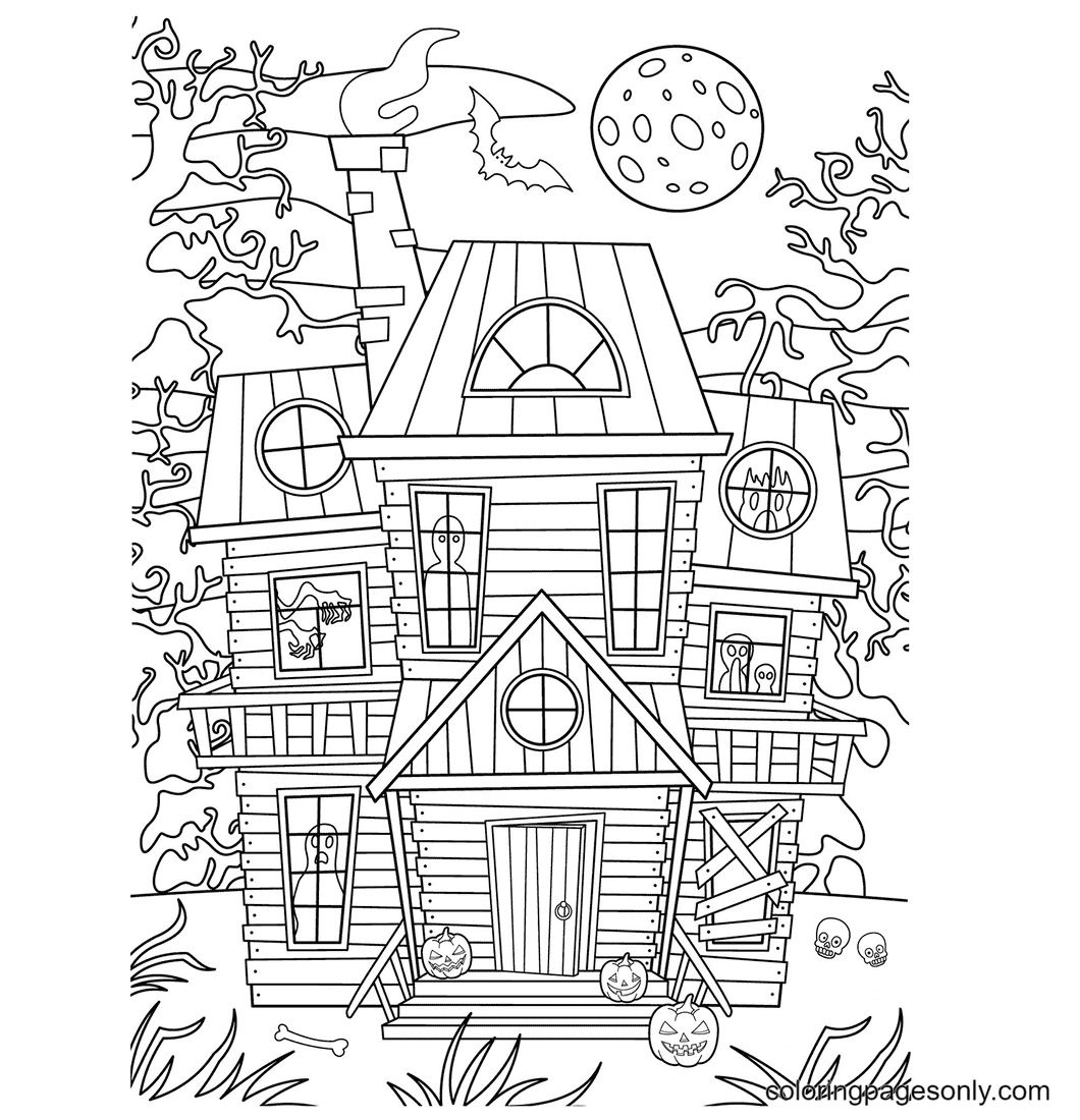 The House with a Lot of Scary Ghosts Coloring Page