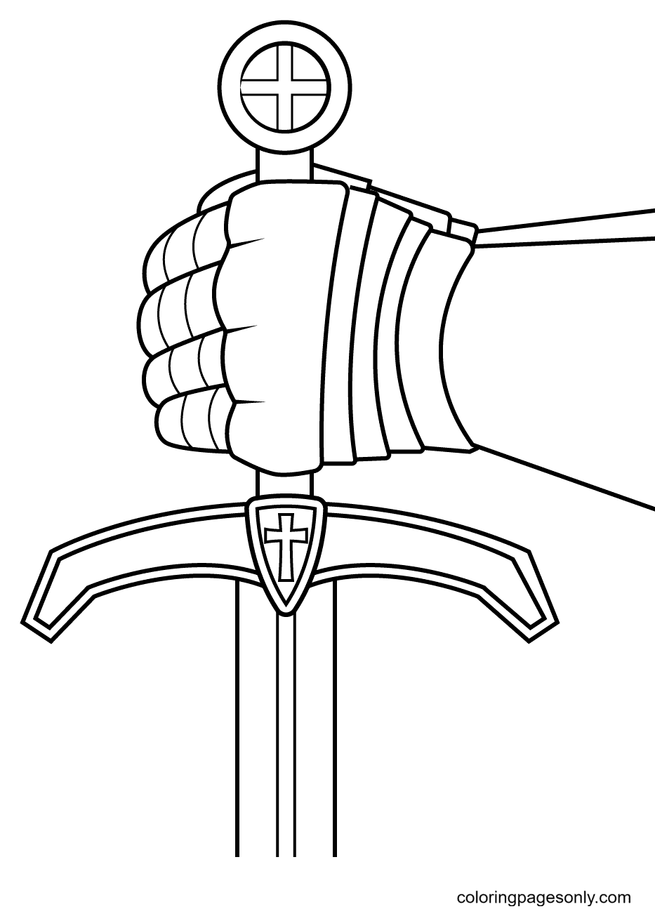The Knight's Hand Holding the Hilt Coloring Page