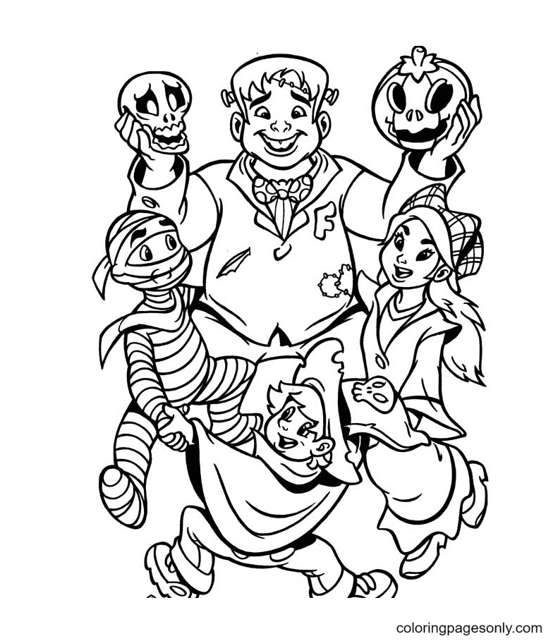 The Monsters Halloween Coloring Page