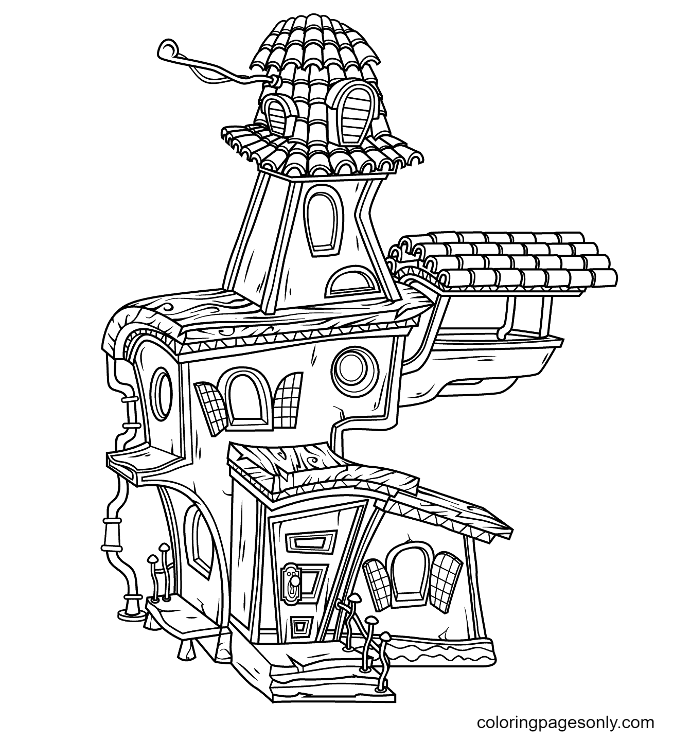 The Old House Haunted Coloring Page