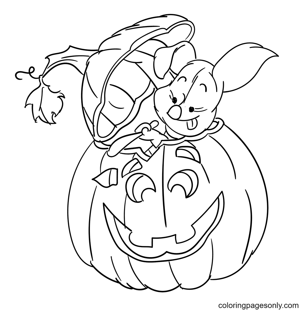 The Piglet Carving Halloween Pumpkin Coloring Page