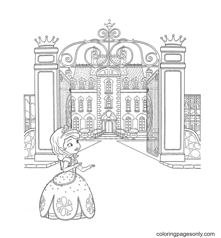 The Princess and the Royal Castle Coloring Page