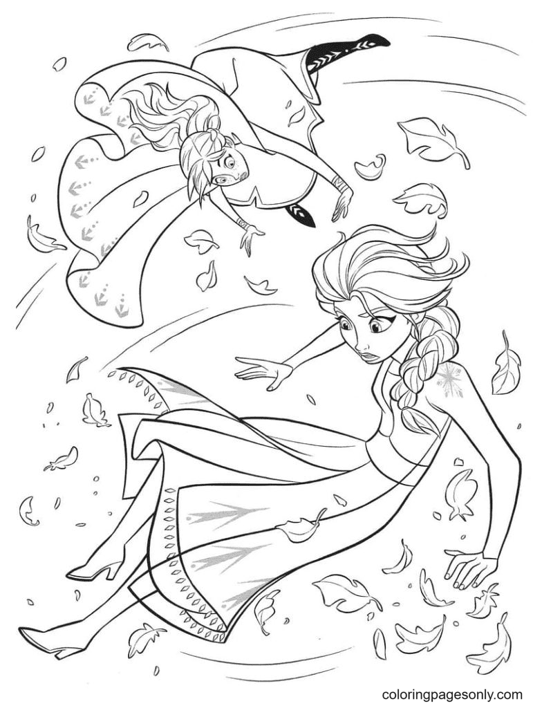 The Wind Lifted the Sisters into the Air Coloring Page