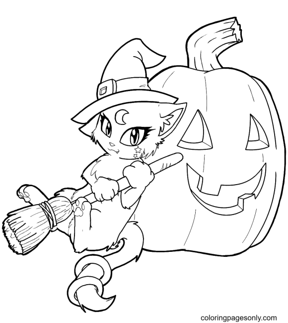 The Witch Cat and the Halloween Pumpkin Coloring Page