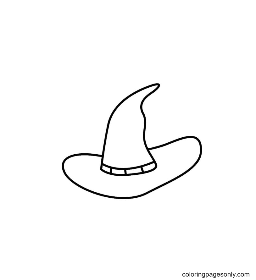 The Witch's Familiar Hat Coloring Page