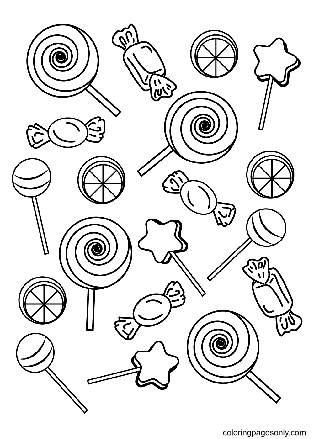The World of Candies Coloring Page
