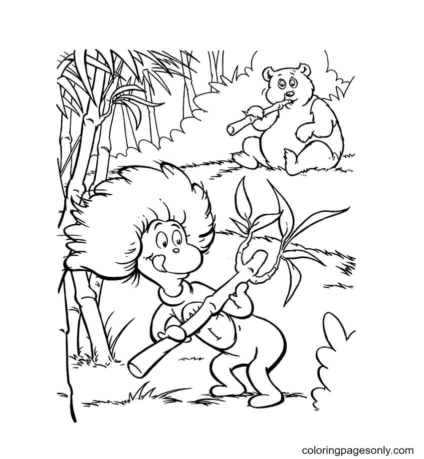 Thing One Relishing Bamboo Coloring Page