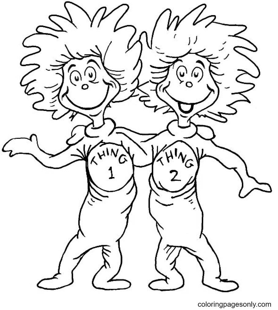 Thing One And Thing Two Coloring Page