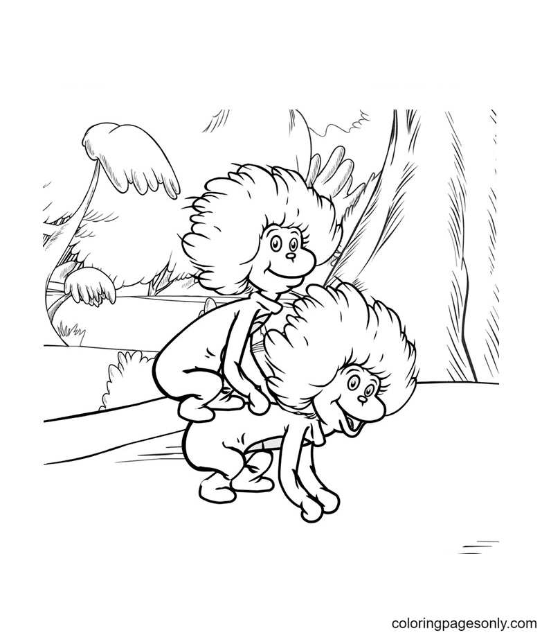 Thing One with Thing Two Coloring Page