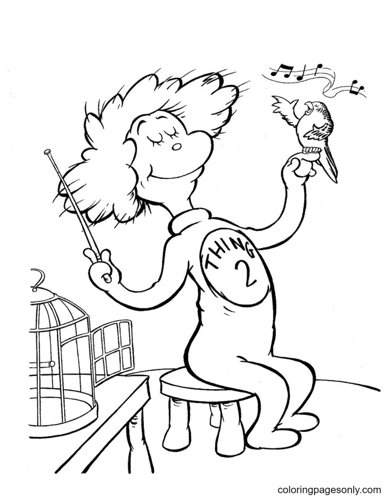 Thing Two With Singing Bird Coloring Page