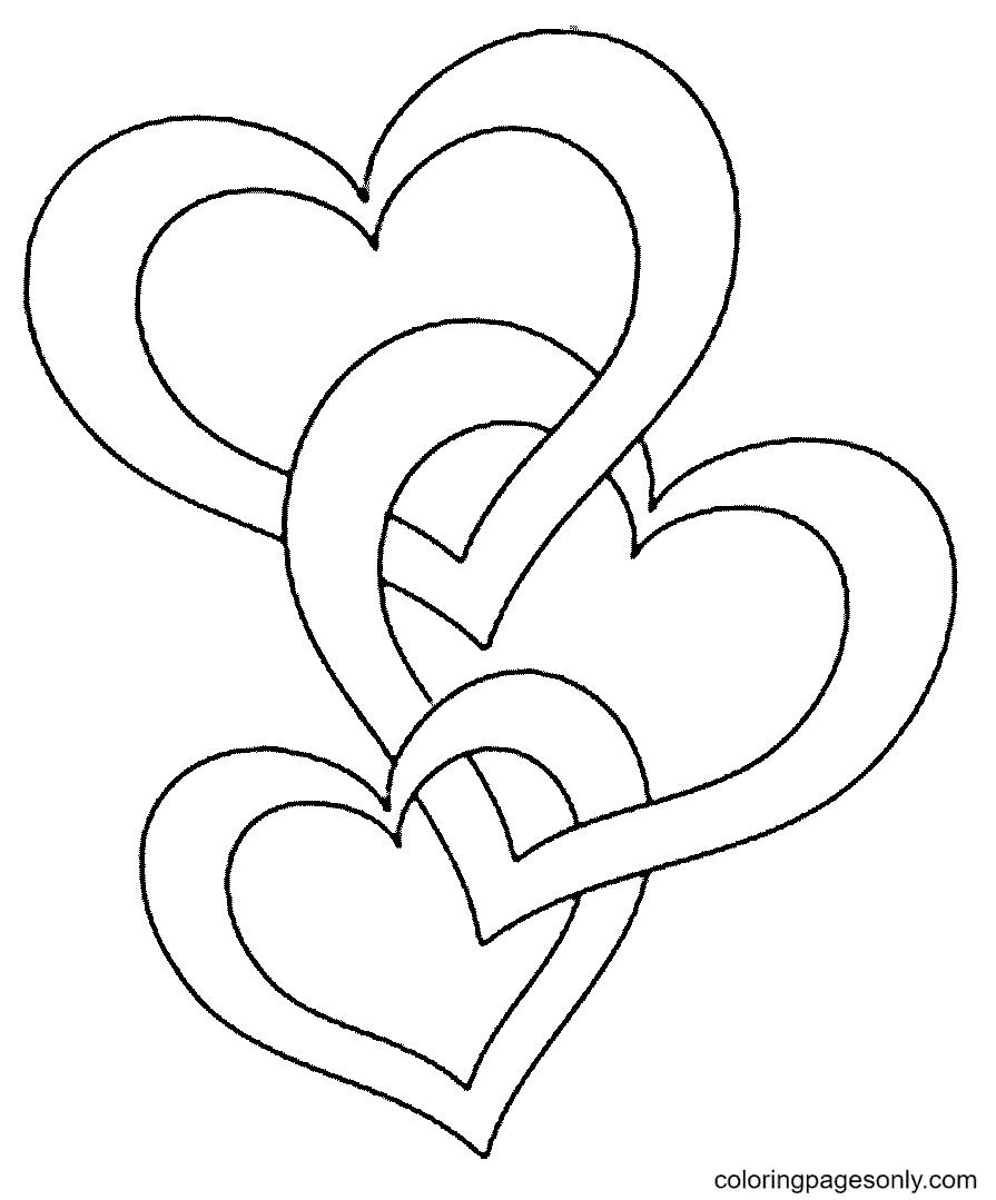 Three Intertwined Hearts Coloring Page