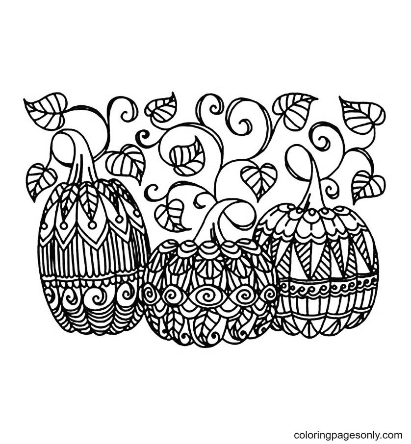Three Pumpkins Coloring Page
