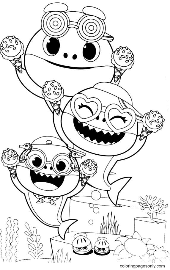 Three Sharks with Creams Coloring Page