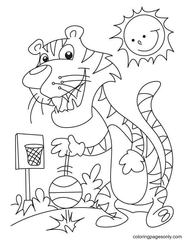 Tiger Playing Basketball Coloring Page