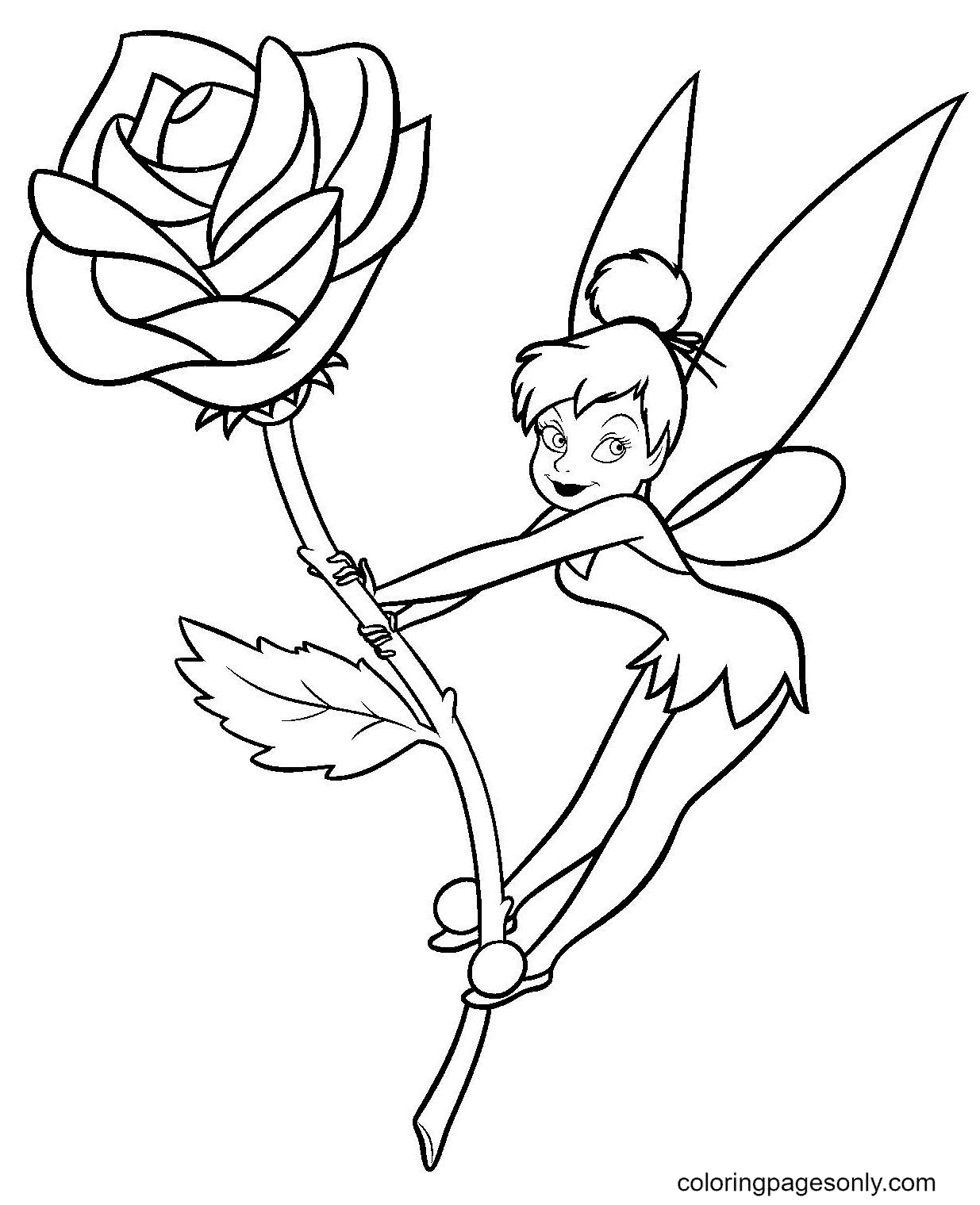 Tinkerbell on a Flower Rose Coloring Page