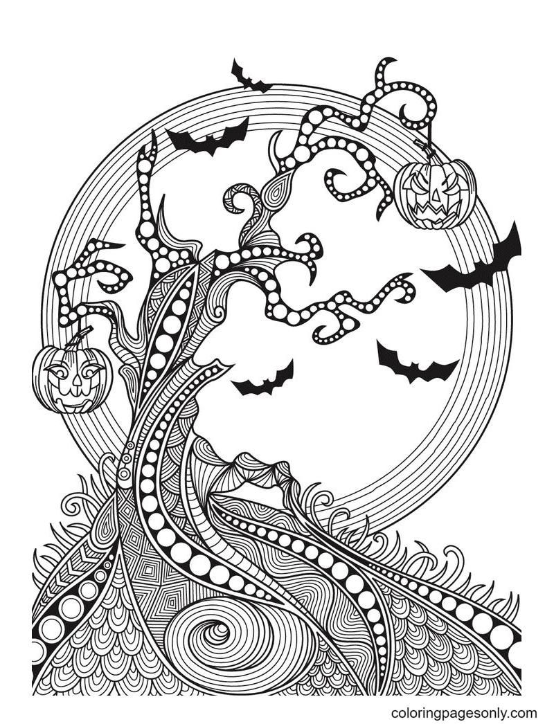 Tree Halloween Mandala Coloring Page