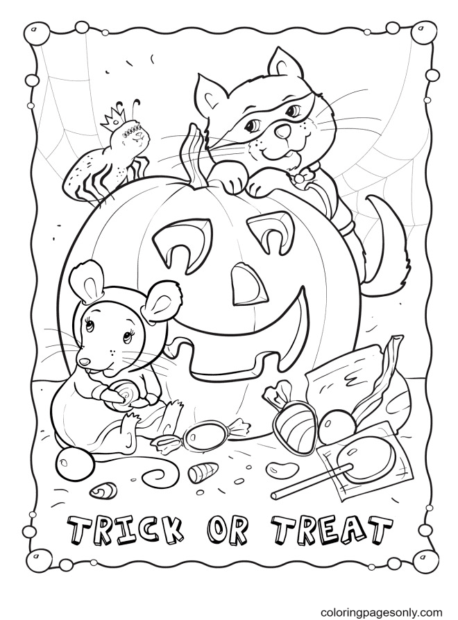 Trick or Treat October Coloring Page