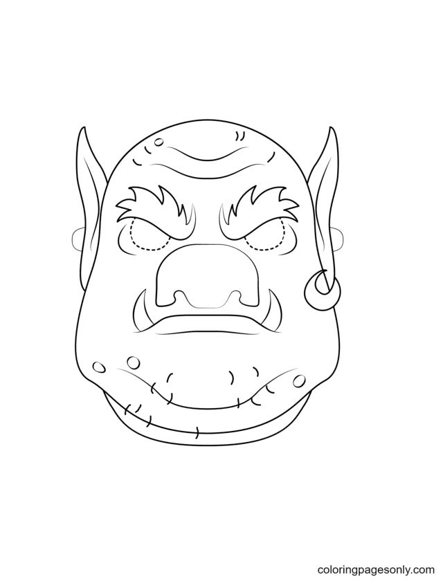 Troll Mask Coloring Page