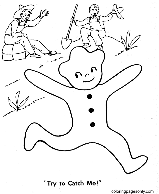 Try to Catch the Gingerbread Man Coloring Page