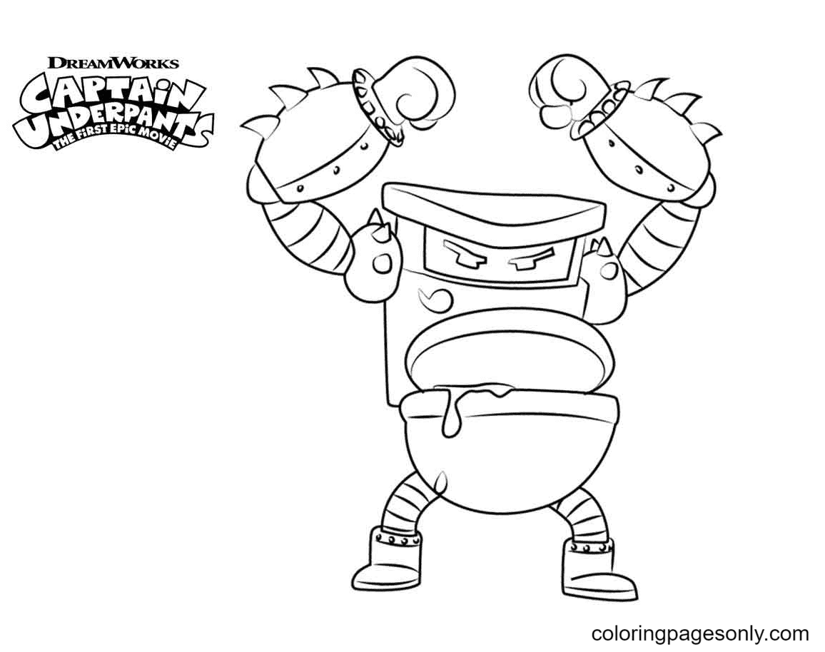 Turbo Toilet Captain Underpants Coloring Page