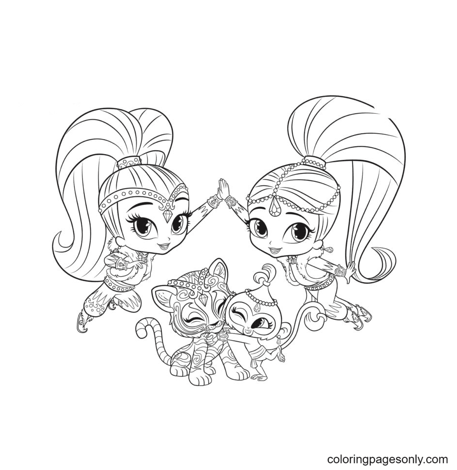 Two Genie and Pets Coloring Page