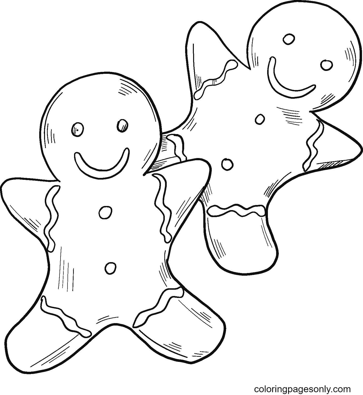 Two Gingerbread Man Coloring Page