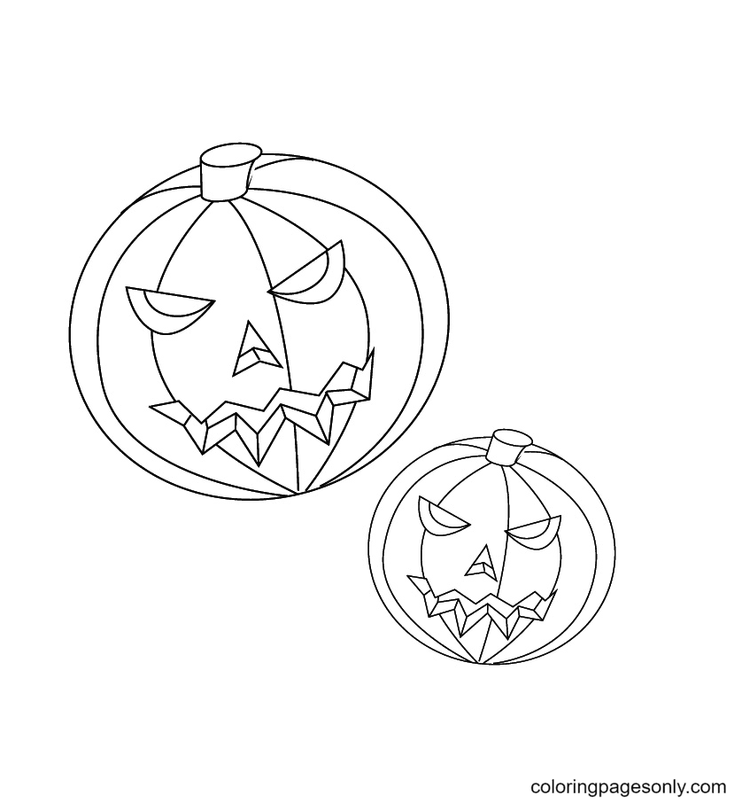 Two Pumpkins Coloring Page