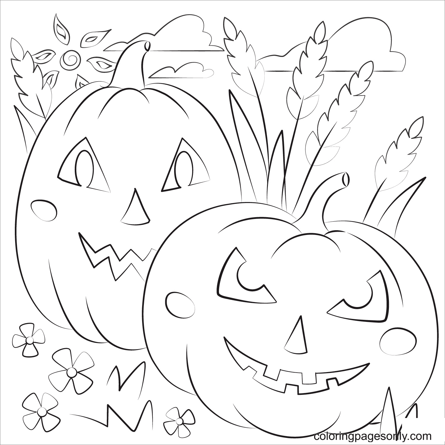 Two Scary Pumpkins Coloring Page