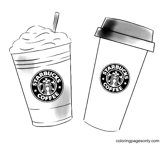 Two Starbucks Cup Coloring Page