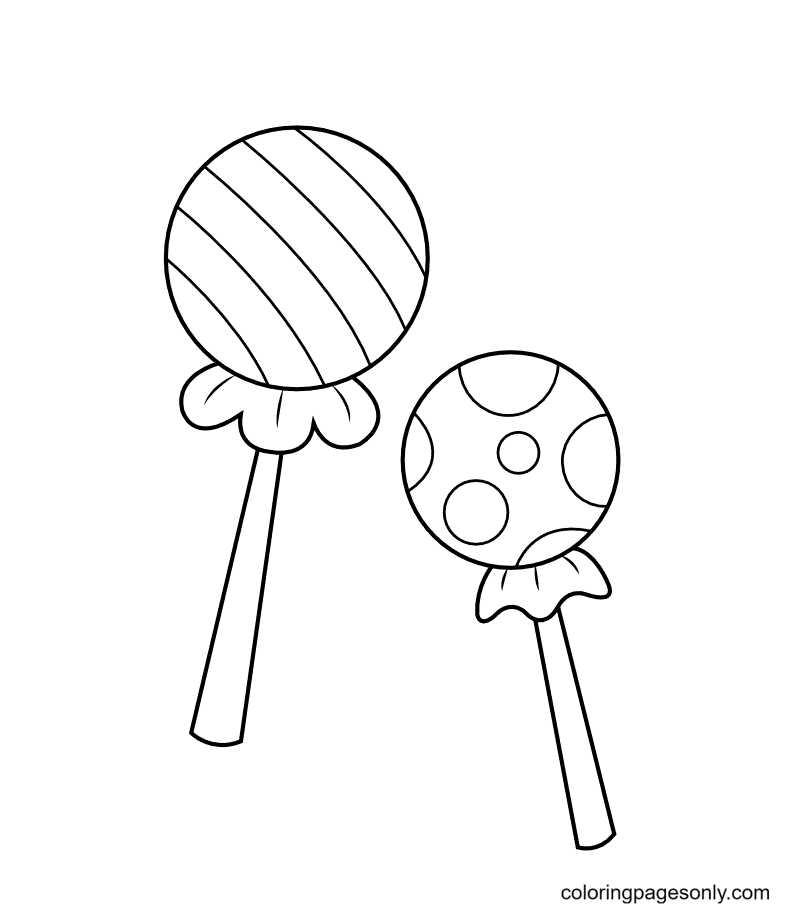 Two Wrapped Lollipop Coloring Page