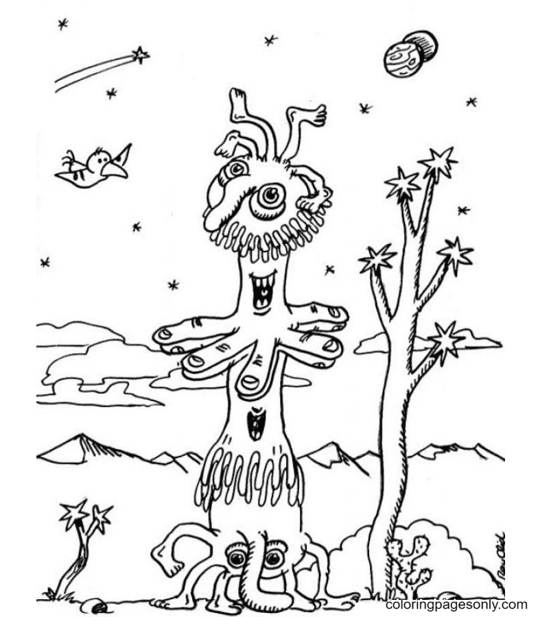 Two-mouthed Alien Coloring Page