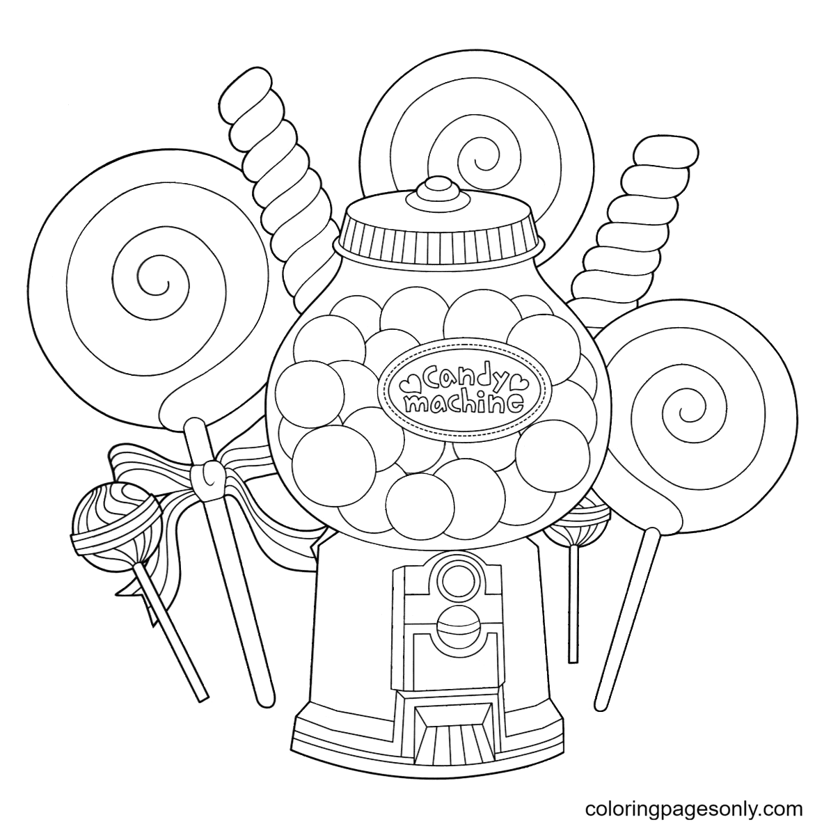 Types of Candies Coloring Page