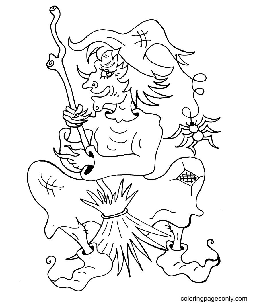 Ugly and Evil Witch Coloring Page
